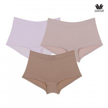 Wacoal Boyleg Tactel Panty Set 3 ชิ้น รุ่น WU8459 Set สีชมพูอ่อน (LP),สีโอวัลติน (OT),สีเบจ (BE)