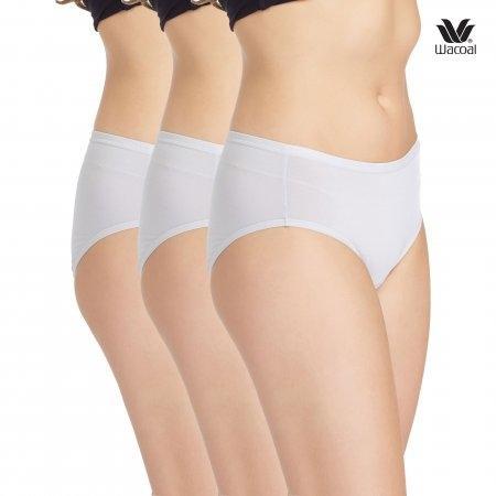 ระคายเคืองผิว  เลือกใส่ Cotton Wacoal Panty Material Innovation : รุ่น Super soft Cotton WU3722 เซ็ต 3 ชิ้น สีเทา(GY) รูปแบบ Half