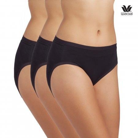 Wacoal Bikini Panty Set 3 ชิ้น รุ่น WU1M01 สีดำ (BL)