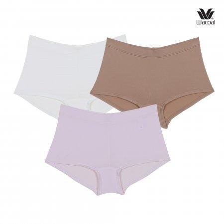 Wacoal Boyleg Tactel Panty Set 3 ชิ้น รุ่น WU8459 สีครีม (CR),สีชมพูอ่อน (LP),สีโอวัลติน (OT)