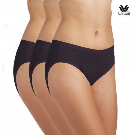 Wacoal Bikini Panty Set 3 ชิ้น รุ่น WQ6M01 สีดำ (BL)