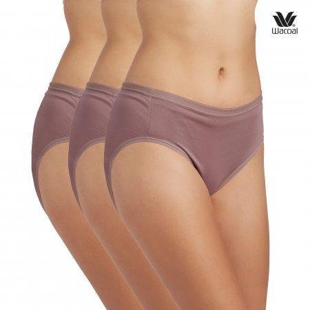 Wacoal Bikini Panty Set 3 ชิ้น รุ่น WU1M01,WQ6M01 สีน้ำตาลไหม้ (BT)
