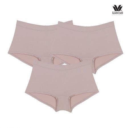 Wacoal Boyleg Tactel Panty Set 3 ชิ้น รุ่น WU8459 สีเบจ (BE)