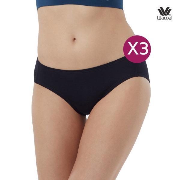 Wacoal Bikini Panty กางเกงในรูปแบบบิกินี่ เซ็ต 3 ชิ้น รุ่น WU2459 สีดำ (BL)