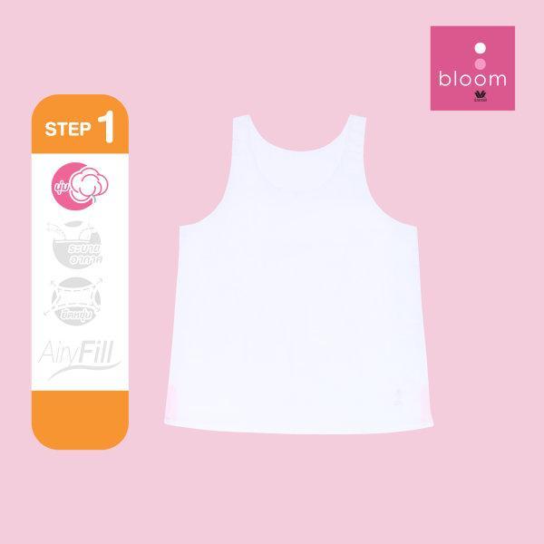 Wacoal Bloom Step 1 รุ่น WH6Q50 เสื้อกล้ามตัวยาว แบบเรียบ สีขาว (WH)