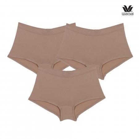 Wacoal Boyleg Tactel Panty Set 3 ชิ้น รุ่น WU8459 สีโอวัลติน (OT)