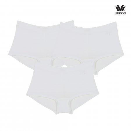 Wacoal Boyleg Tactel Panty Set 3 ชิ้น รุ่น WU8459 สีครีม (CR)