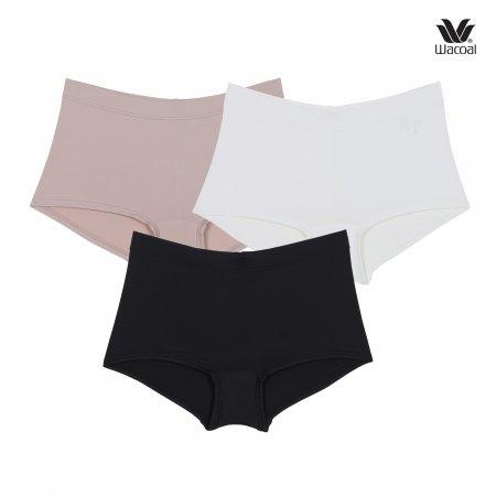 Wacoal Boyleg Tactel Panty Set 3 ชิ้น รุ่น WU8459 สีเบจ (BE),สีดำ (BL),สีครีม (CR)