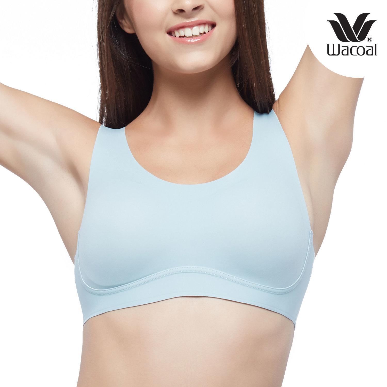 วาโก้ S M L บรา Gen ใหม่ เลือกง่าย ใส่สวย Wacoal Go Girls รุ่น WB3Y13 สีฟ้าอมเขียวอ่อน (LT)