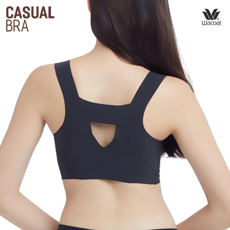 Wacoal Wireless bra บราไร้โครง รูปแบบสวมหัว รุ่น WH9E02 สีดำ (BL)