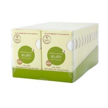 ผ้าเปียกเช็ดผิว ซาโตะ 5 ชิ้น ต่อกล่อง x 20 กล่อง (Natural pulp 100%)