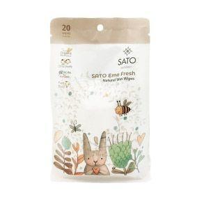 SATO Emo Fresh ผ้าเปียกออแกนิค x 3 ฟรี 2 แพ็ค 177.- ส่งฟรี!