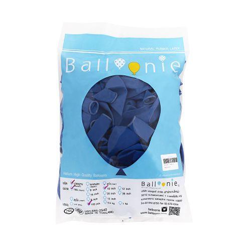 ลูกโป่ง 12 นิ้ว สีน้ำเงินธรรมดา  (1 ถุง 100 ใบ)