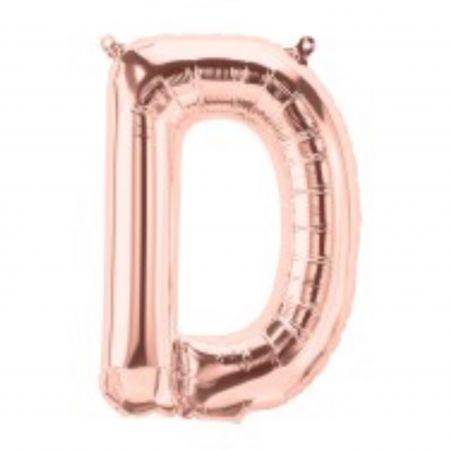 ลูกโป่งตัวอักษร D สี Rose gold ขนาด14นิ้ว