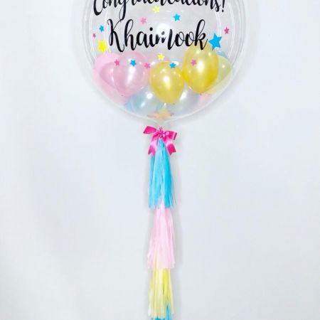 ลูกโป่งแสดงความยินดี Bubble balloon ติดพู่ทั้งเส้น