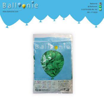 ลูกโป่ง 6 นิ้ว สีเขียวเข้มธรรมดา(1 ถุง 100 ใบ)