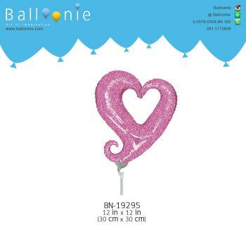 ลูกโป่ง mini Foil หัวใจเสี้ยว สีชมพู