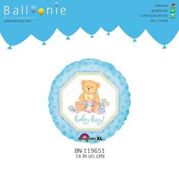 ลูกโป่งวันเกิด  ทรงกลมรูปหมีสีฟ้า