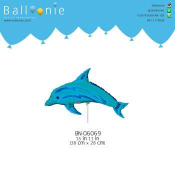 ลูกโป่ง mini Foil  ปลาโลมาสีฟ้า