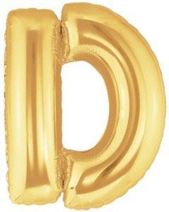 ลูกโป่งตัวอักษร D สีทอง ขนาด 14 นิ้ว
