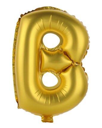 ลูกโป่งตัวอักษร B สีทอง ขนาด 14 นิ้ว