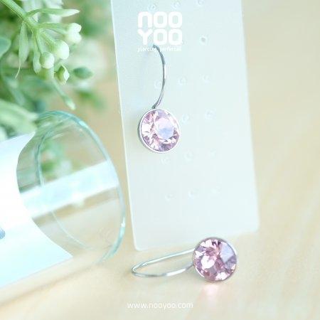 (30736) ต่างหู Hanging Light Rose Crystal 8mm