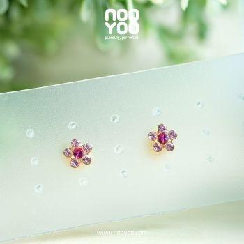(30124) ต่างหู Daisy Light Rose / Fuchsia Gold Plated