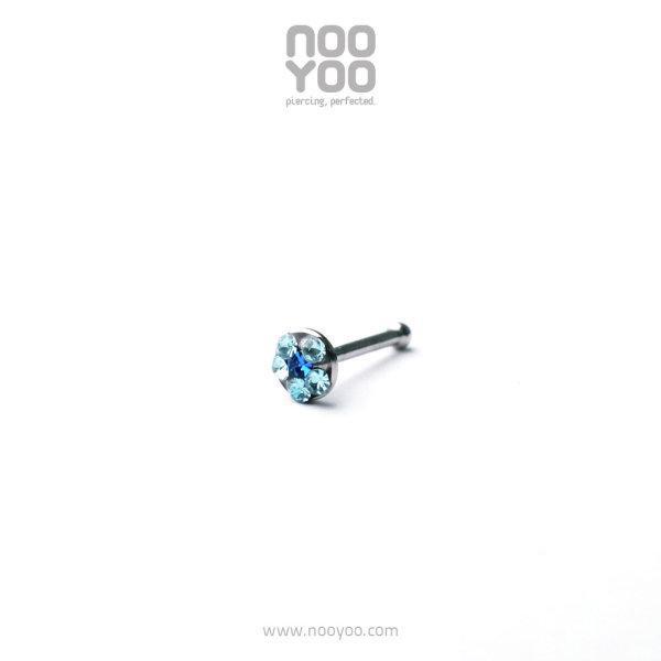 (30389) จิวจมูก Daisy Nose Barbell MAR Aqua / SEP Sapphire Surgical Steel