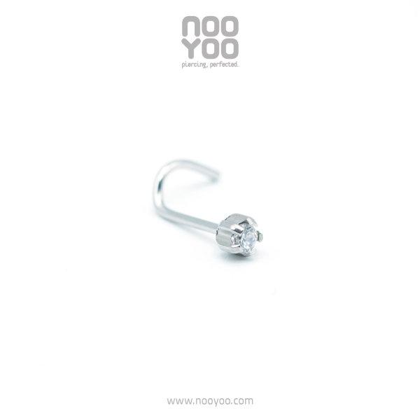 (30670) จิวจมูก Nose Pig Tail Cubic Zirconia Card Surgical Steel