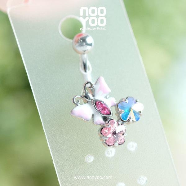 (30806) จิวสะดือ Pink Butterfly Enamel with CZ Banana Surgical Steel