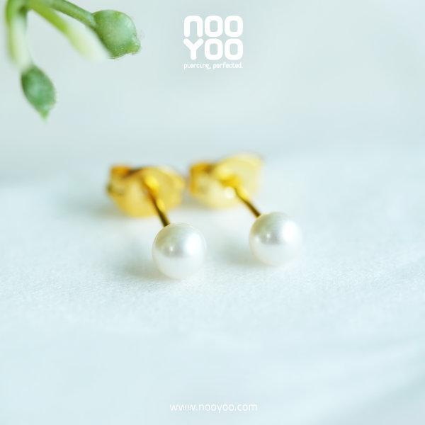 (30190) ต่างหู White Pearl 4mm Gold Plated