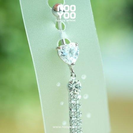 (30344) จิวสะดือ Dangle Crystal Heart with Multistone Crystal