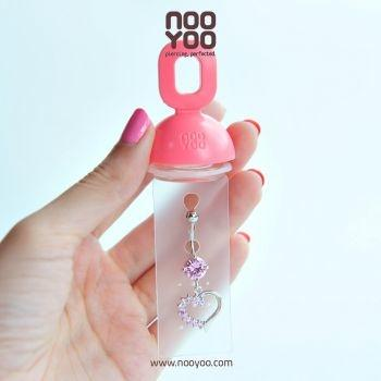 (30273) จิวสะดือ Dangle Mini Jewel Lt. Rose Half Heart