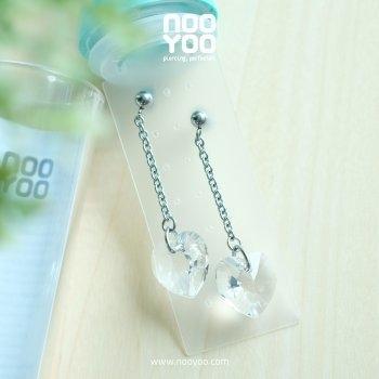 (30664) ต่างหู Heart Shape Crystal Dangle Surgical Steel