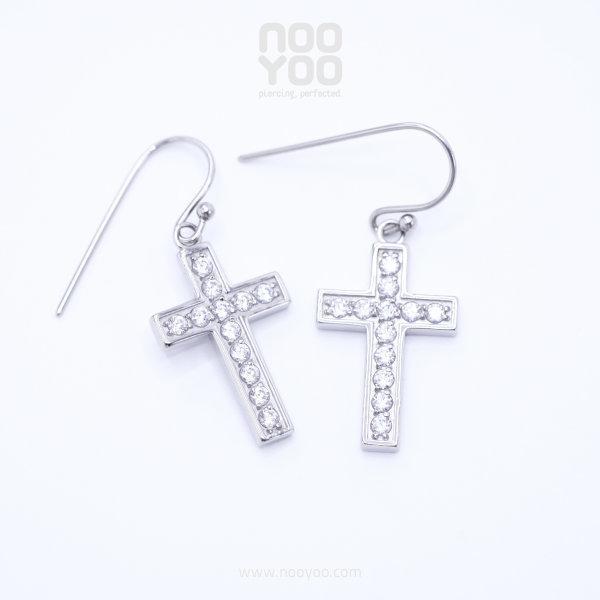 (30895) ต่างหู Pave Cross Hook CZ
