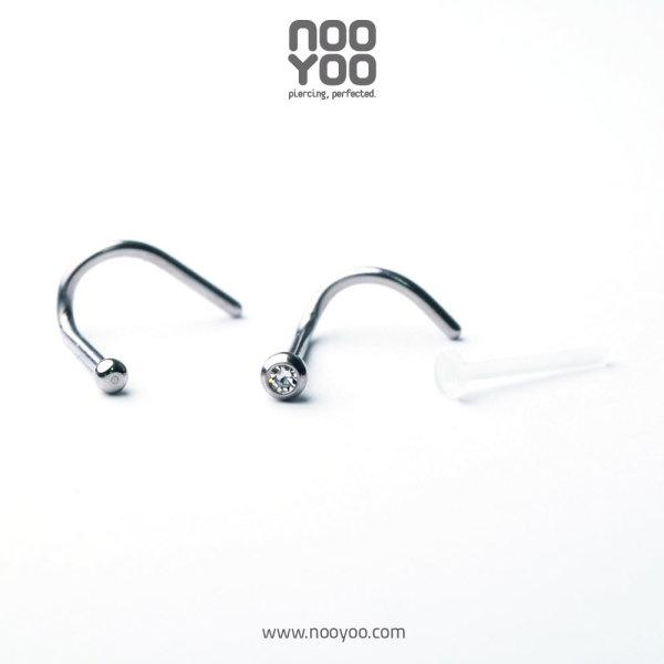 (30221) จิวจมูก Nose Screw 1mm Ball / Crystal / Retainer Surgical Steel (P3)