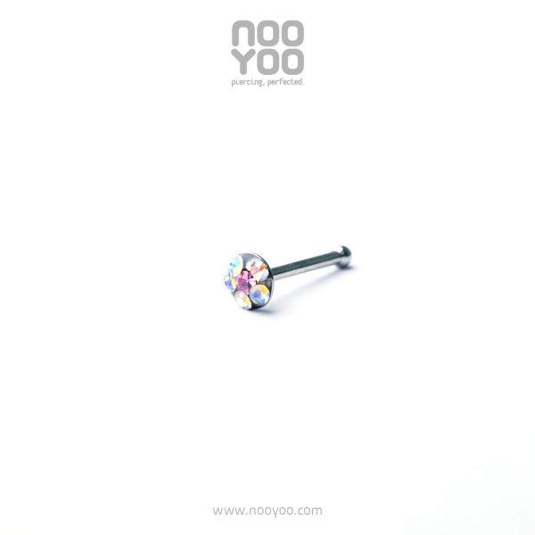 (30202) จิวจมูก Daisy Nose Barbell AB Crystal/ OCT Rose Surgical Steel