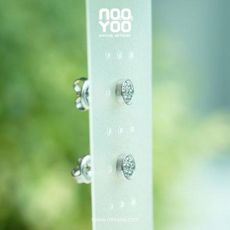 (30789) ต่างหู Round Pave Cubic Zirconia Surgical Steel