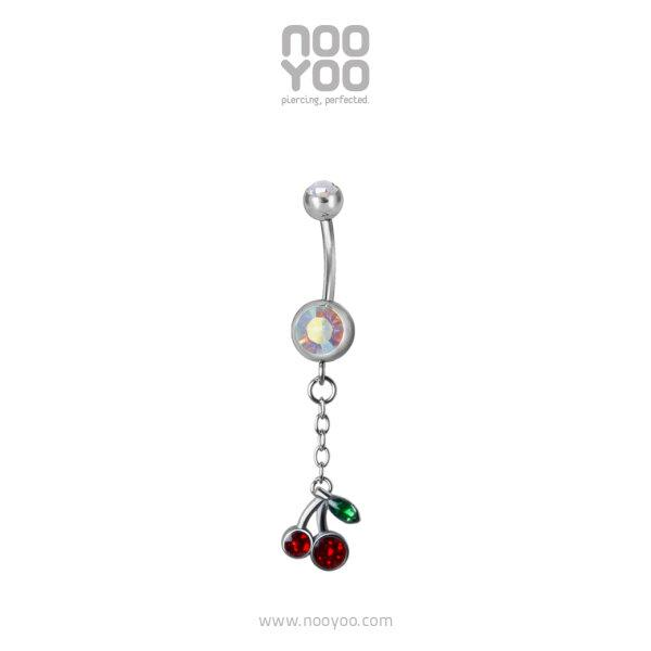 (30928) จิวสะดือ Dangling Cherry Surgical Steel