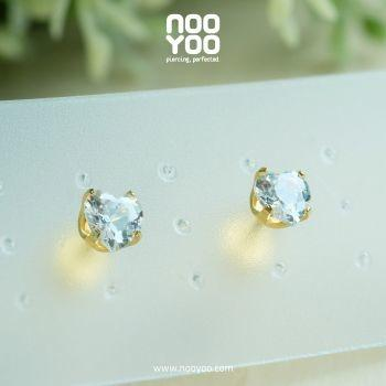 (30100) ต่างหู Cubic Zirconia 5x5mm Heart Gold Plated
