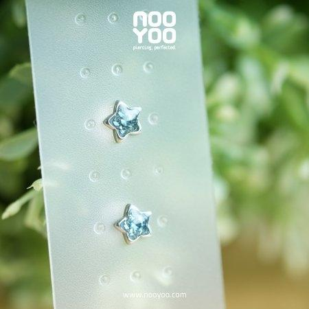 (30773) ต่างหู Crystal Aquamarine Star Surgical Steel