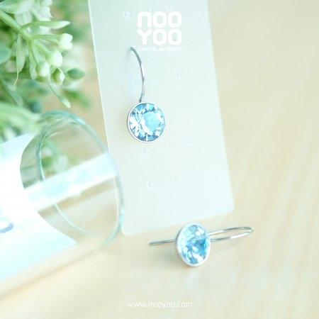 (30735) ต่างหู Hanging Aquamarine Crystal 6mm