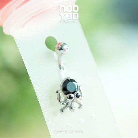 (30828) จิวสะดือ Jet Crystal Octopus Surgical Steel