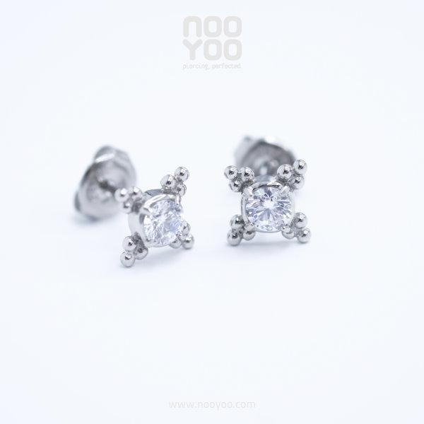 (30884) ต่างหู Tribal Cubic Zirconia Surgical Steel