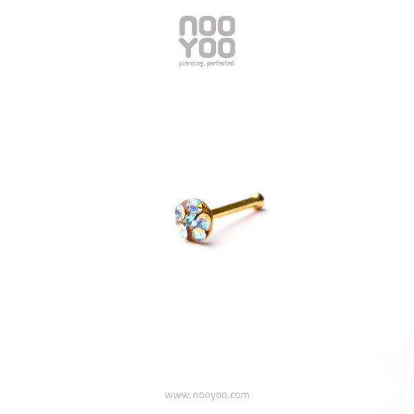 (30199) จิวจมูก Daisy Nose Barbell AB Crystal / MAR Aquamarine Gold Plated