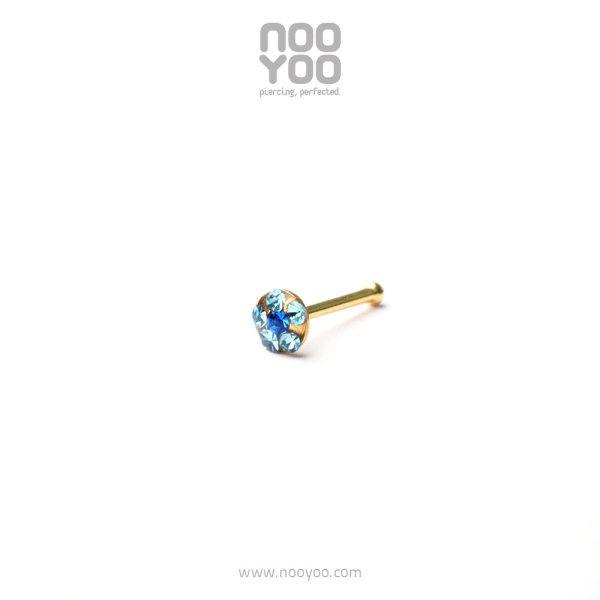 (30205) จิวจมูก Daisy Nose Barbell MAR Aqua / SEP Sapphire Gold Plated