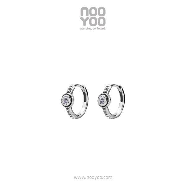 (31015) ต่างหู Hoop with Single CZ Surgical Steel