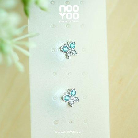 (30784) ต่างหู Butterfly Swarovski Surgical Steel - Mint