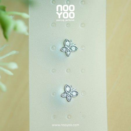(30785) ต่างหู Butterfly Surgical Steel - Crystal