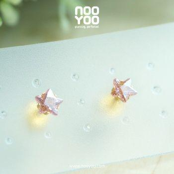 (30175) ต่างหู Cubic Zirconia 5mm Pink Star Cut Gold Plated